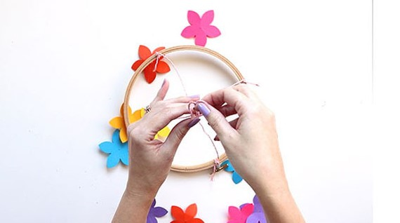 Step 6 - Burst of Spring Paper Chandelier Decor
