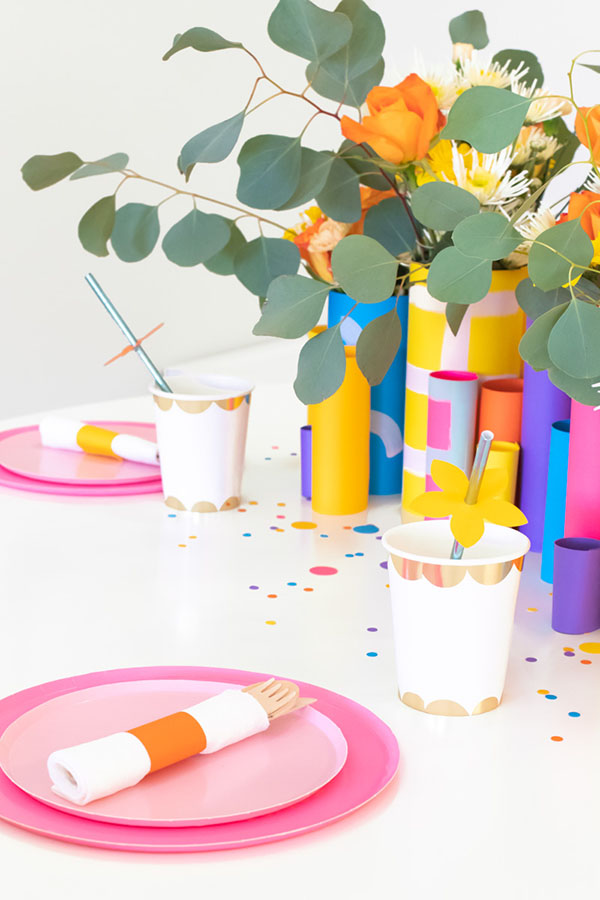 Burst of Spring Paper Straw and Napkin Decor