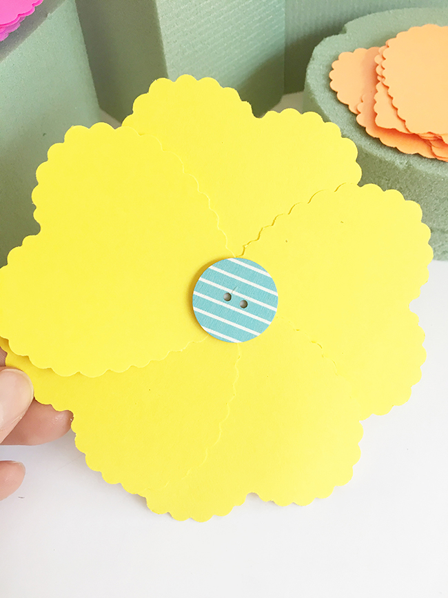 Kindness In Bloom Paper Flower With Button