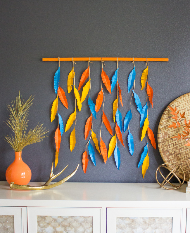 Colorful DIY Feather Wall Hanging
