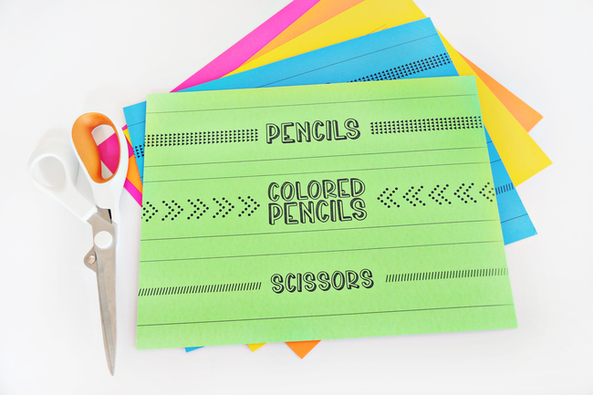 Colored Paper Labels For School Supplies