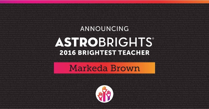 Astrobrights Brightest Teacher Winner 2016
