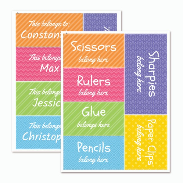 Teacher Bright Organization Labels