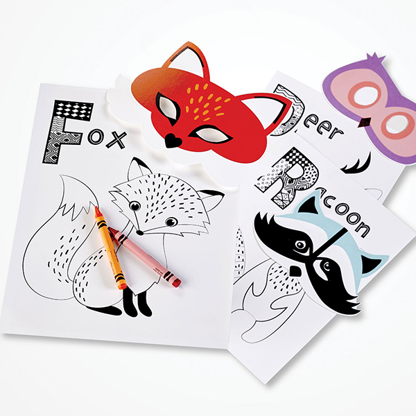 Woodland Animals Coloring Pages And Masks Kid Crafts ASTROBRIGHTS